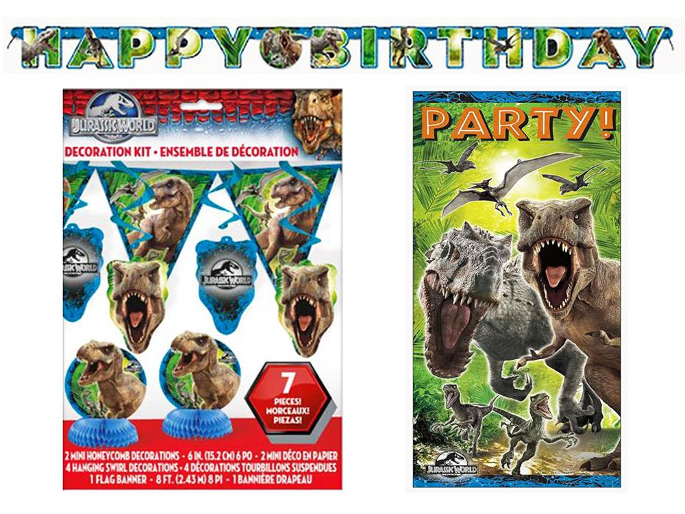 Jurassic World Birthday Party Decorations Bundle: 7 Piece Decoration Kit, Door Poster, and 6 Ft Banner
