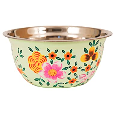 Large Hand Painted Stainless Steel Salad Bowl - For Mixing, Serving, Decorative Floral Art and Home Decor (light green)