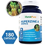 Best Huperzine A 300mcg 180 Capsules (Non-GMO & Gluten Free) - Nootropic Brain Booster Supplement, for Memory & Focus. The Powerful and Natural Mental Booster - 100% Money Back Guarantee!