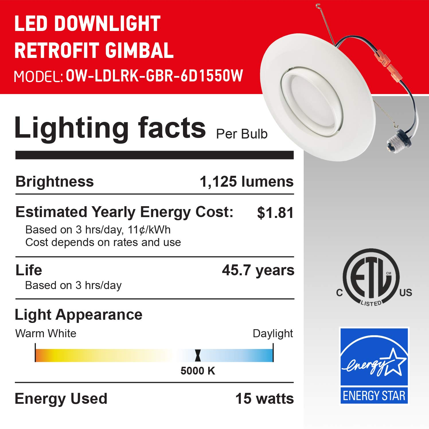 Dimmable 1150 Lm 3000K Warm Light ETL /& Energy Star Adjustable Angle Downlight Directional 120 Watt Replacement OSTWIN 6 Inch Directional Recessed LED Can Gimbal Light Fixture 15 W