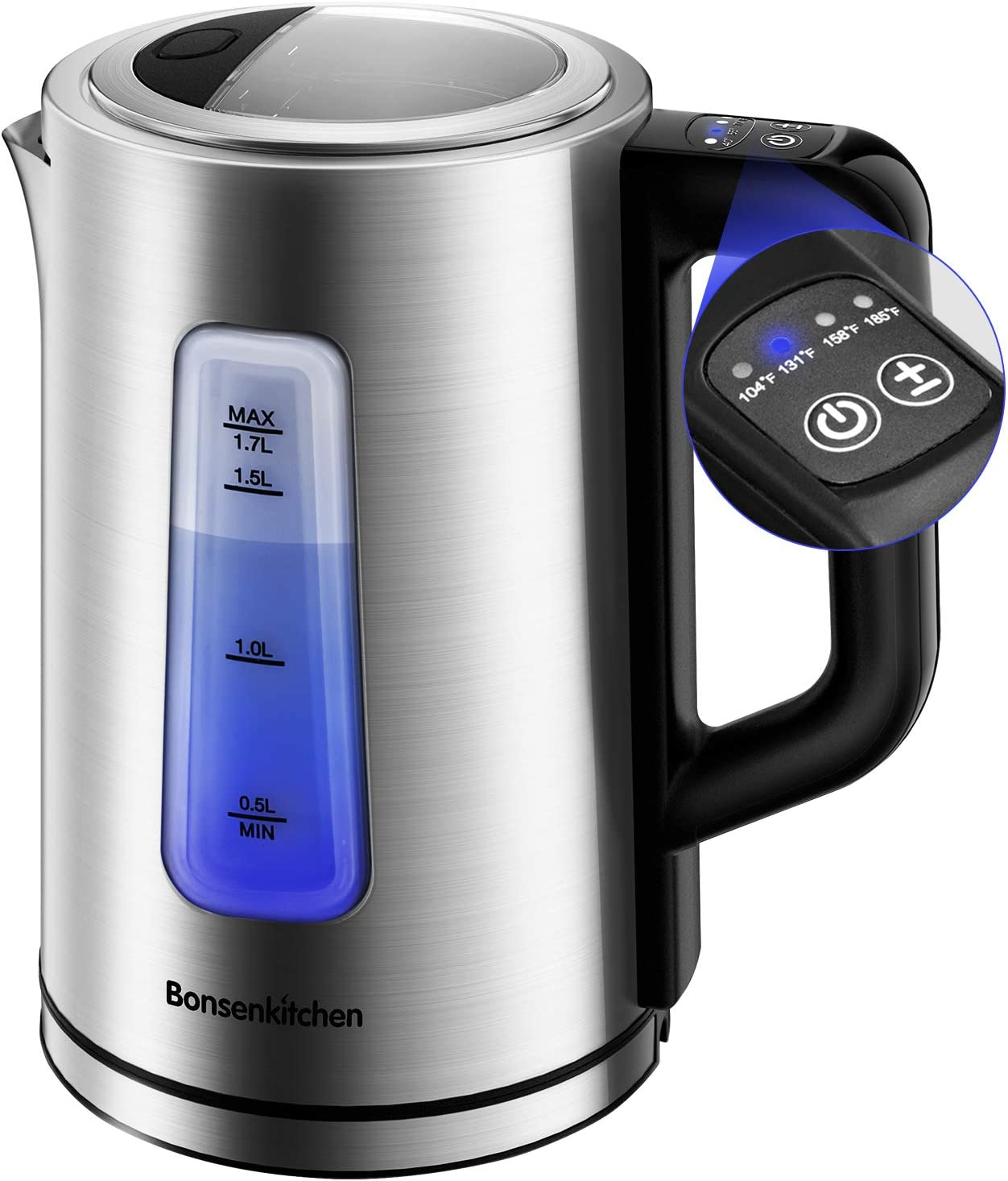 Electric Stainless Steel Tea Kettle 1.7L, Bonsenkitchen Electric Kettle Temperature Control Water Boiler Automatic Shut Off, 1500W Fast Heating Cordless Water Heater for Coffee, Tea or Milk with Led Light
