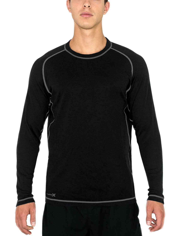 WoolX Herren Merinowolle Shirt – Feuchtigkeitstransport – atmungsaktiv Wolle Shirt