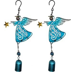 VOKPROOF Angel Wind Chimes - Fairy Garden Decor Wind Bells Indoor and Outdoor Decoration, Metal Musical Wind Chime for Home, Patio, Festival Gifts for Mom (Set of 2 Blue Angels)