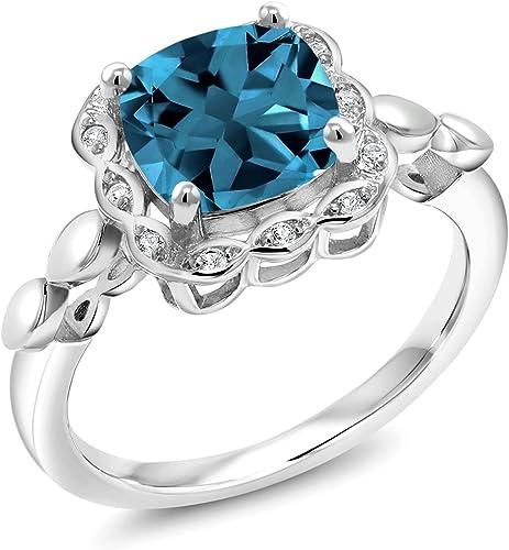 WOMEN/'S THREE STONE PEAR SHAPE BLUE MONTANA SAPPHIRE BIRTHSTONE ANNIVERSARY RING