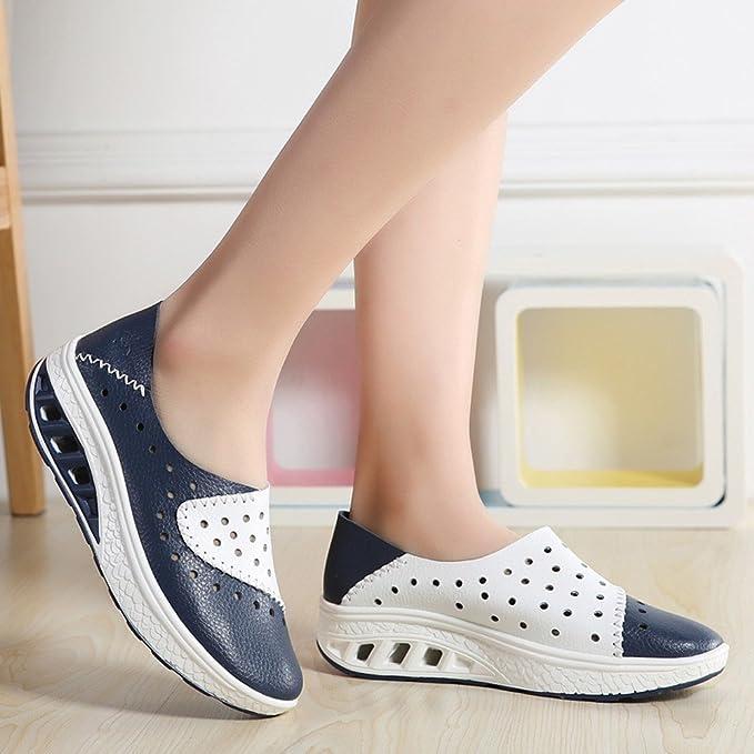 Yvelands Los Zapatos de los Planos de Las Mujeres Zapatos de Cuero genuinos Mocasines del Recorte resbalón en los Zapatos de los Planos del Ballet: ...