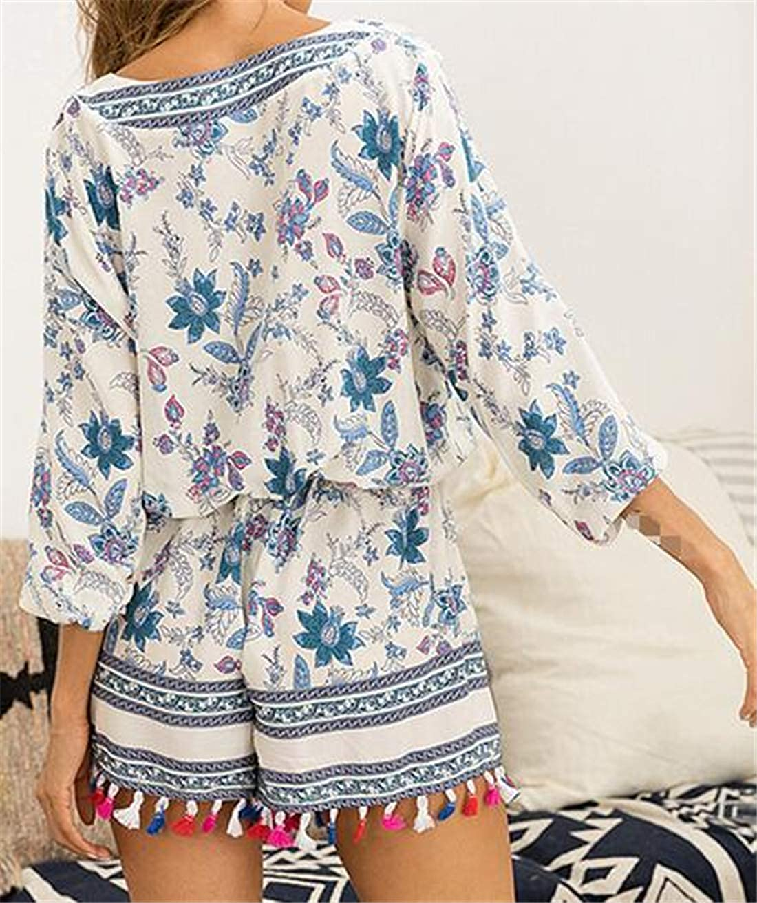 Pandapang Womens Fashion Playsuit Flower 3//4 Sleeve Tassel V-Neck Short Jumpsuits Rompers