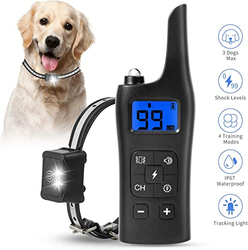 Chrislley Dog Training Collar with Remote 2700Ft Shock Collar for Dogs 4 Modes IP67 Waterproof Rechargeable 0 99 Levels Bark Collar Beep,Vibration and Shock