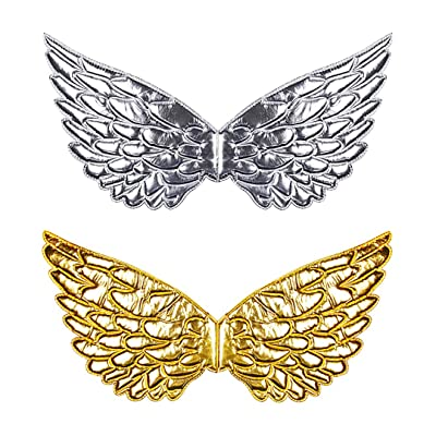 Multifit Kids 2pcs Shiny Fairy Butterfly Wings Girls Angel Wings Costume for Christmas Party Dress Up Halloween(Gold and Silver): Clothing