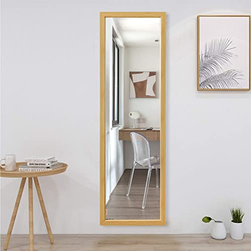KIAYACI Full Length Mirror Decor Wall Mounted Mirror Floor Mirror Dressing Mirror Make Up Mirror Polystyrene Frame Bathroom/Bedroom/Living Room/Dining Room/Entry Natural