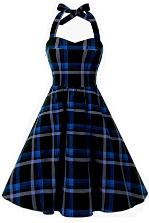 181bafbed6 ... Amazon Womens Clothing Store. Topdress Womensvintage Polka Audrey Dress  S Halter Retro Cocktail Dress Blue Plaid S