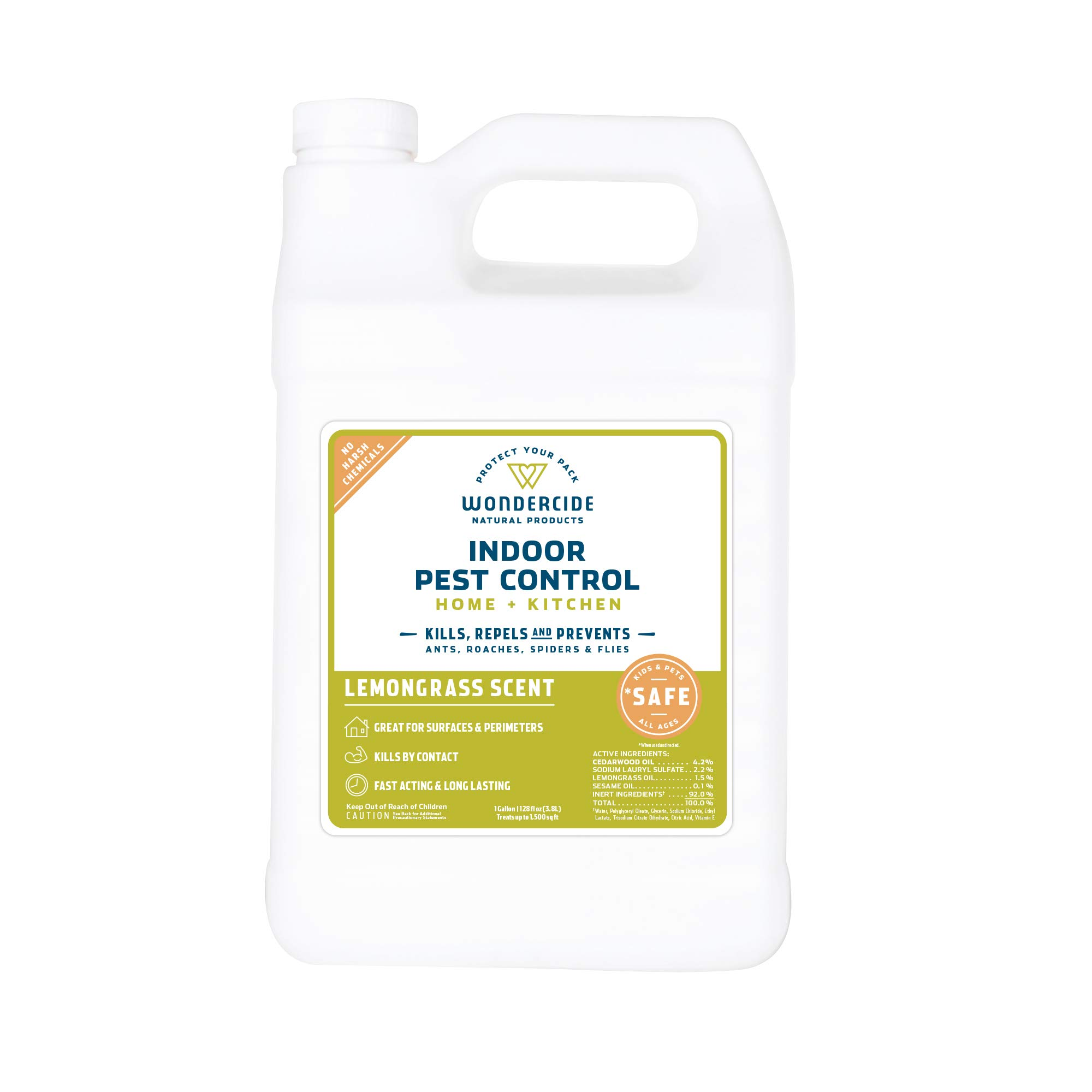Wondercide Natural Indoor Pest Control Spray for Home and Kitchen - Fly, Ant, Spider, Roach, and Bug Killer and Repellent - 128 oz Lemongrass by Wondercide