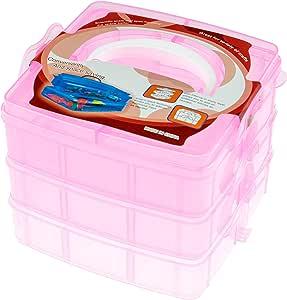 Clever Creations - Caja transparente de almacenaje - Rosa - 16 x 15 x 12,5 cm: Amazon.es: Hogar