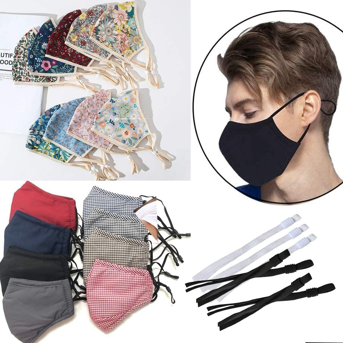 100 PC Elastic Band Cord for Sewing Crafting with Adjustable Buckle Stretchy Mask Earloop Lanyard Earmuff Rope DIY Face Cover Making Supplies Black