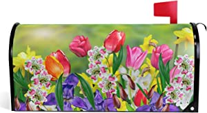 Vdsrup Spring Summer Flowers Mailbox Covers Magnetic Tulips Daffodils Daisy Florals Mailbox Cover Standard Size 18