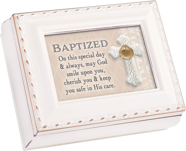 Cottage Garden Baptized Ivory Rope Trim 4.5 x 3.5 Tiny Square Jewelry Keepsake Box