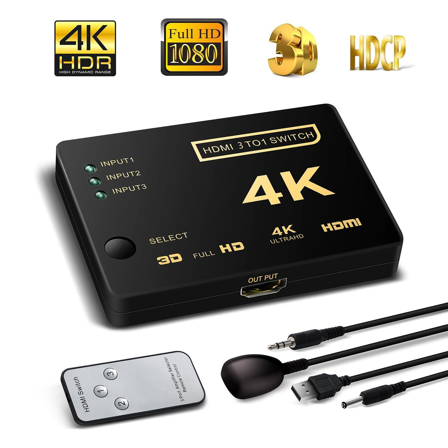 HDMI Switcher 3X1, 4K Support HDCP 1080p Mini 3 in 1 out HDMI Swicth HDMI Splitter Intelligent 4 Port 4K HDMI Audio Switcher Selector Splitter Amplifier Adapter with IR Remote for Mac PCs XBOX TVs by lunbowon