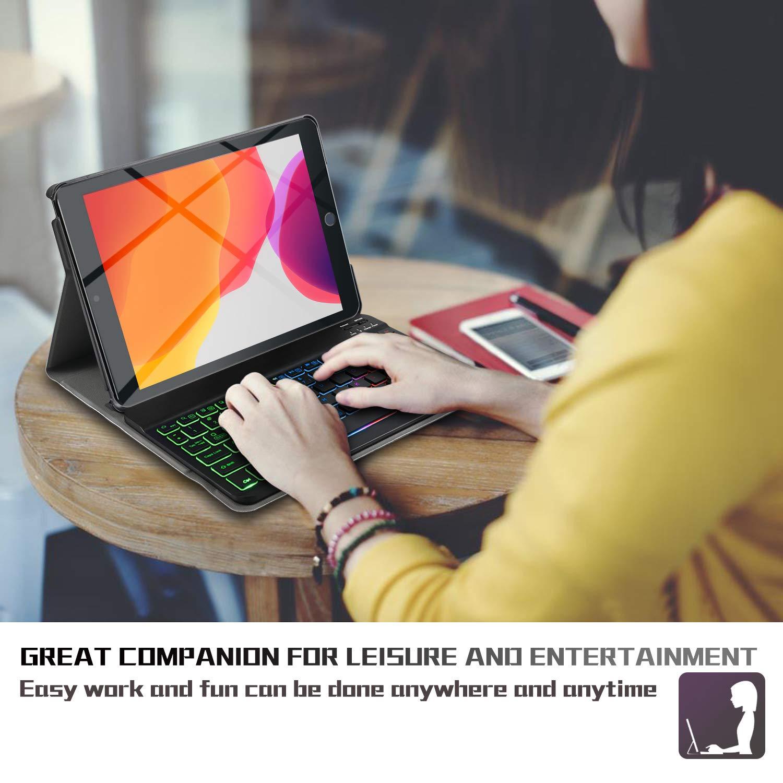 QWERTY Ingles,Sin /ñ Rojo 7/ª Generaci/ón ELTD Teclado Estuche para iPad 10.2 Pulgadas 2019 , Protectora Cover Funda con Desmontable Wireless Teclado para iPad 10.2 Pulgadas dispositivoa,