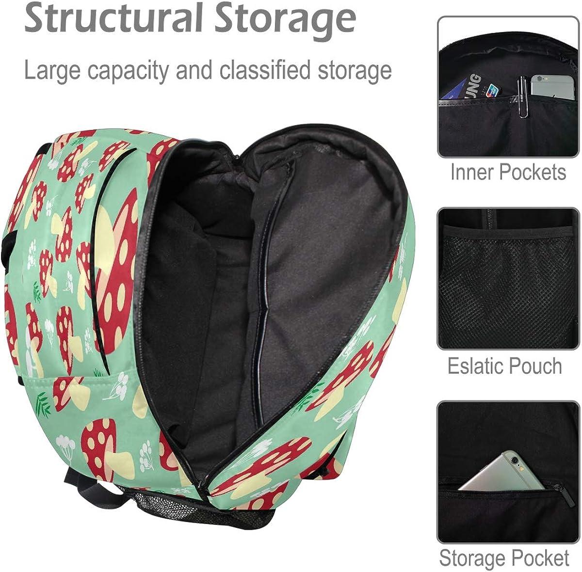 Laptop Backpack Boys Grils Mushroom School Bookbags Computer Daypack for Travel Hiking Camping