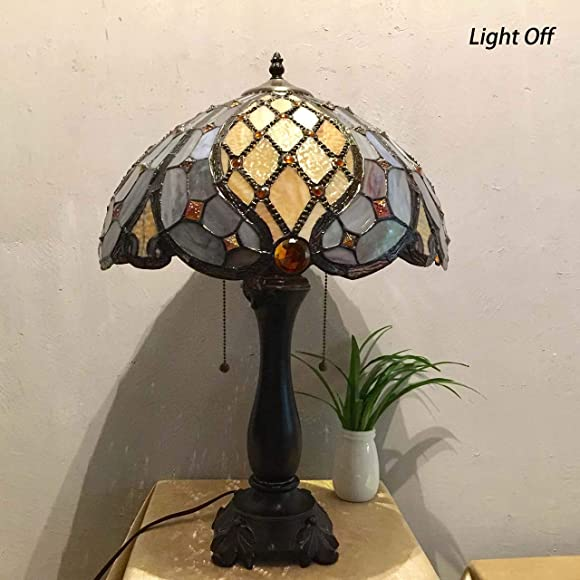 Bieye L10818 Baroque Tiffany Style Stained Glass Table Lamp
