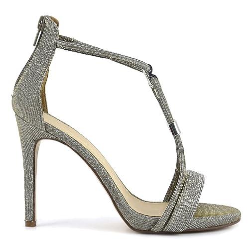 Caf Noir NB994 scarpa sandalo donna tessuto glitterato argento tacco 105