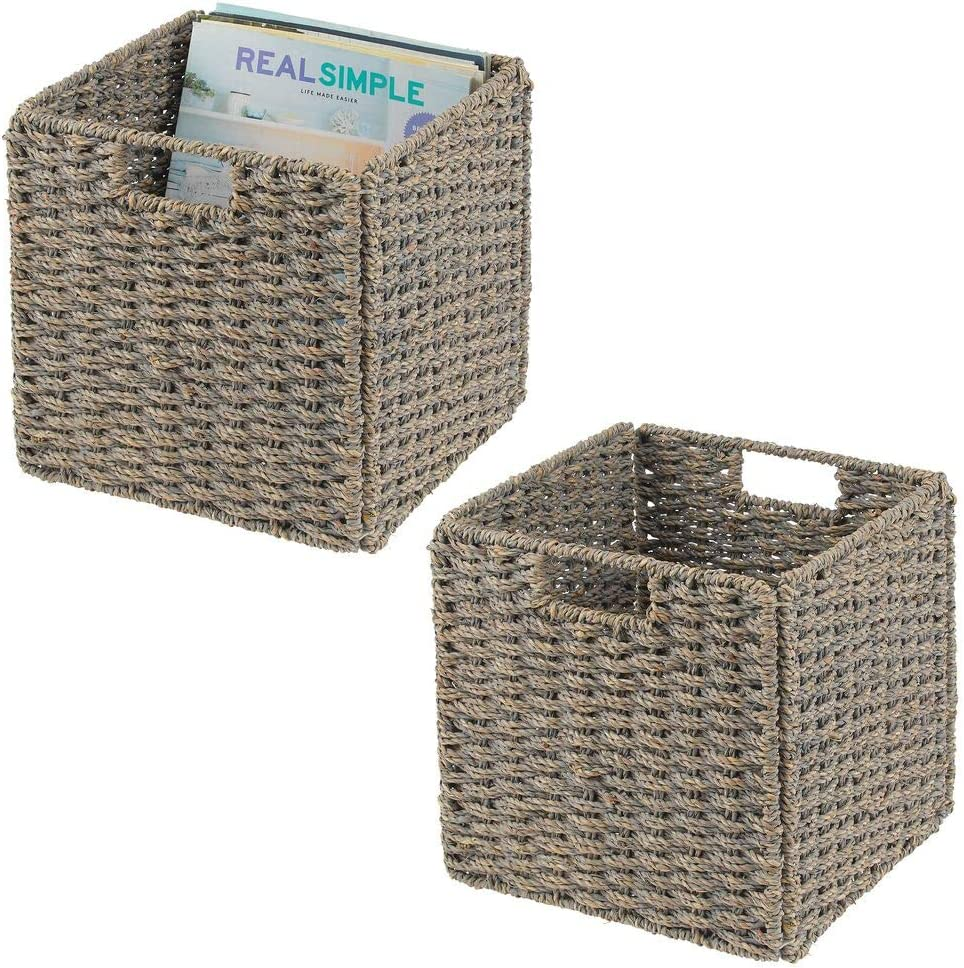 "mDesign Natural Woven Seagrass Closet Storage Organizer Basket Bin - Collapsible - for Cube Furniture Shelving in Closet, Bedroom, Bathroom, Entryway, Office - 10.5"" High, 2 Pack - Gray Wash"