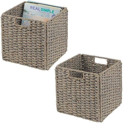 Cajas organizadoras plegables hechas de junco marino Ideales para estanter/ías cuadradas Cestas de almacenaje con patr/ón trenzado gris mDesign Juego de 2 cajas de almacenaje