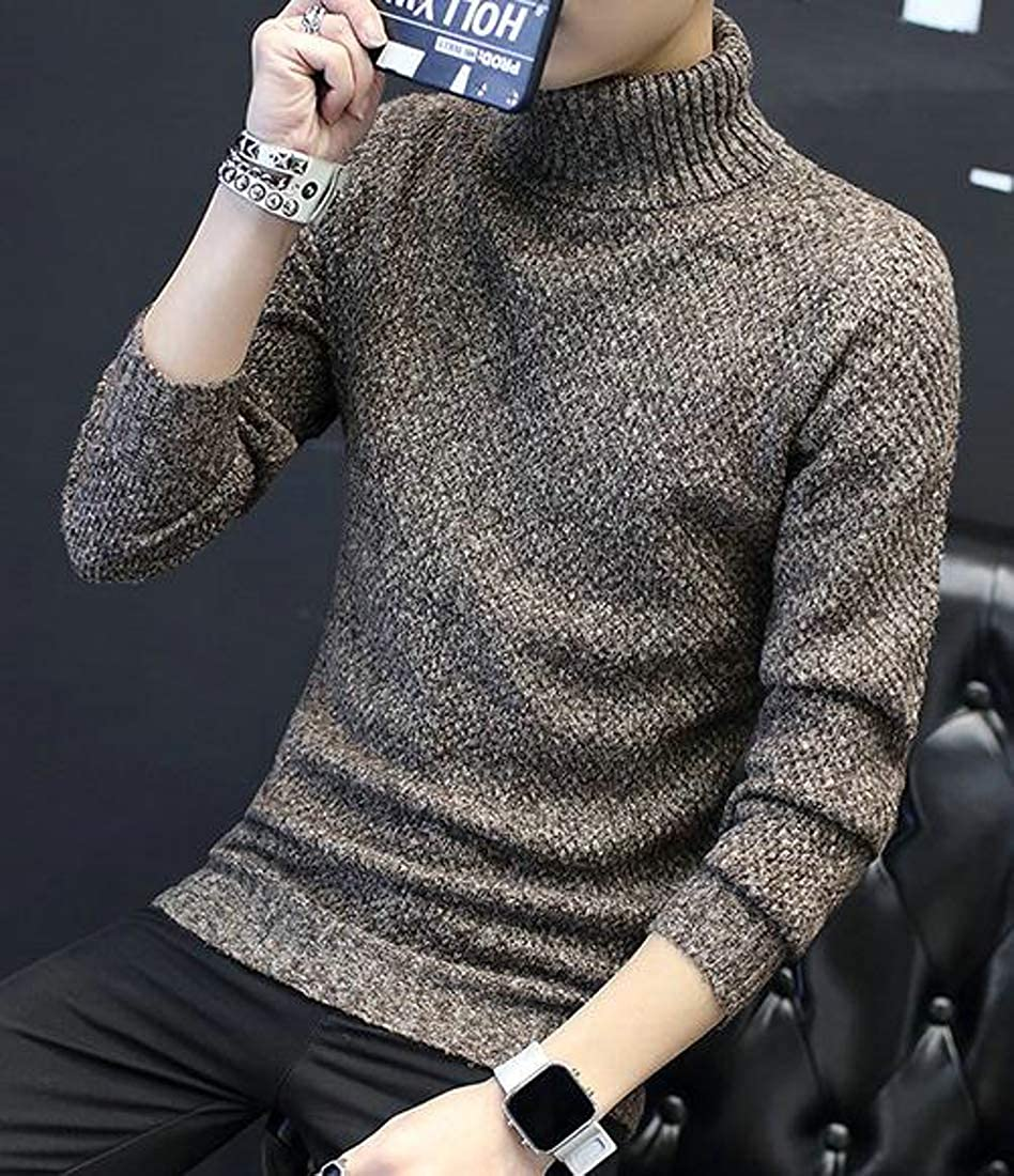 Lutratocro Mens Classical Turtleneck Knitted Pullover Slim Fit Jumper Sweater