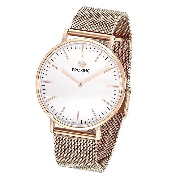 c32a457083fd Relojes de Mujer, PROKING Relojes de Cuarzo Analógico Ultradelgados de Moda  Rose Gold, Cristal de Zafiro Elegante Reloj de Pulsera de Acero ...