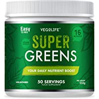 Super Greens Powder - Premium Quality 250g Tub - 50 Servings - 16 Different Nutrients - Easy to Mix Fine Powder - UK Made - Amazing Value - Your Daily Nutrient Boost - Unflavoured