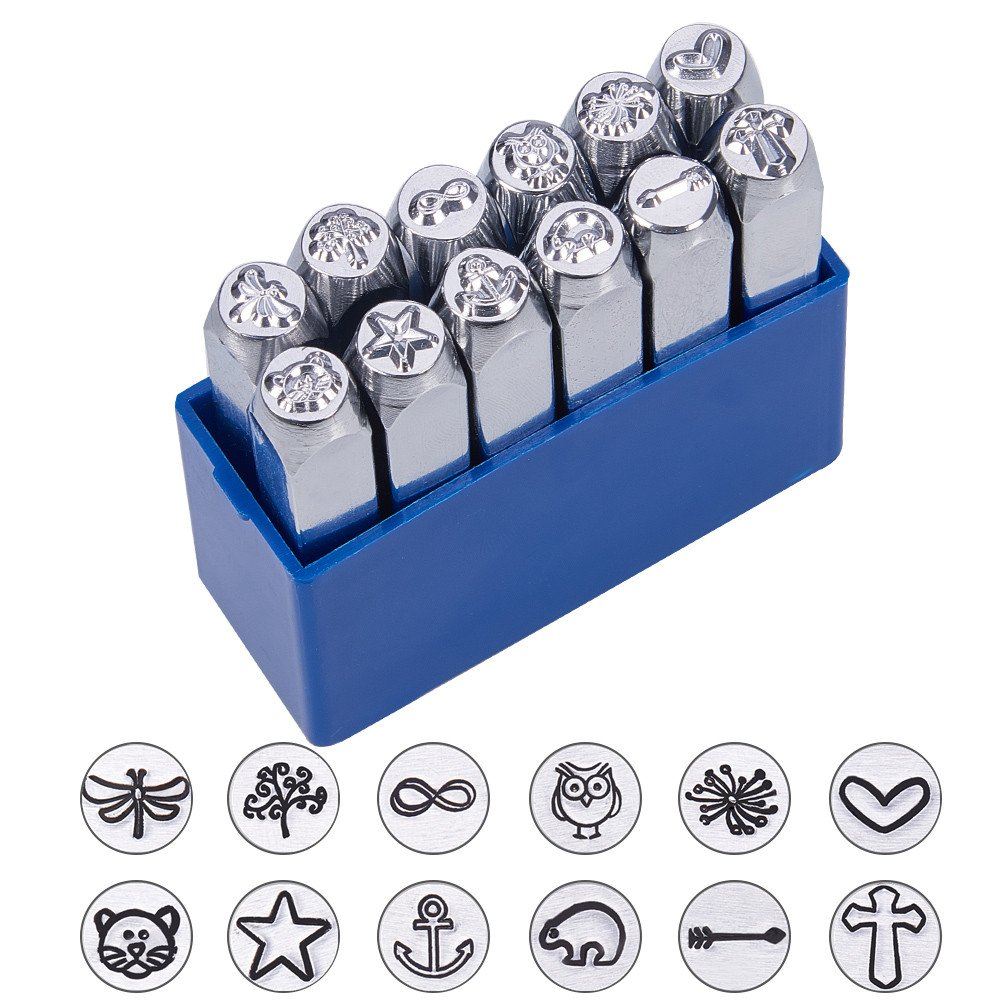 BENECREAT 12 Pack (6mm 1/4) Design Stamps, Metal Punch Stamp Stamping Tool Case - Electroplated Hard Carbon Steel Tools to Stamp/Punch Metal, Jewelry, Leather, Wood