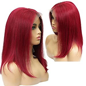 Human Hair Wigs Lace Front Bob Burgundy 99J Wigs Middle Part with Baby Hair for Black women (14inch, 99J burgundy 150% Density 13x6 Lace Frontal)
