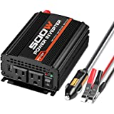 POTEK 500W Power Inverter / Car Converter DC 12V to 110V Dual AC Charging Port and 2A USB ports for Laptop, Smart Phone