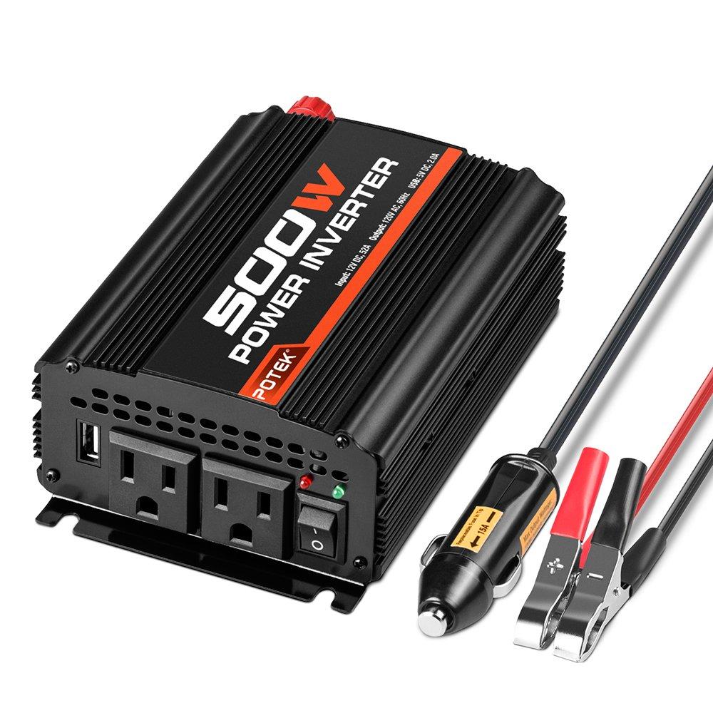 POTEK 500W Power Inverter/Car Inverter DC 12V to AC 110V Dual AC Charging Port and 2A USB Ports for Laptop, Smart Phone