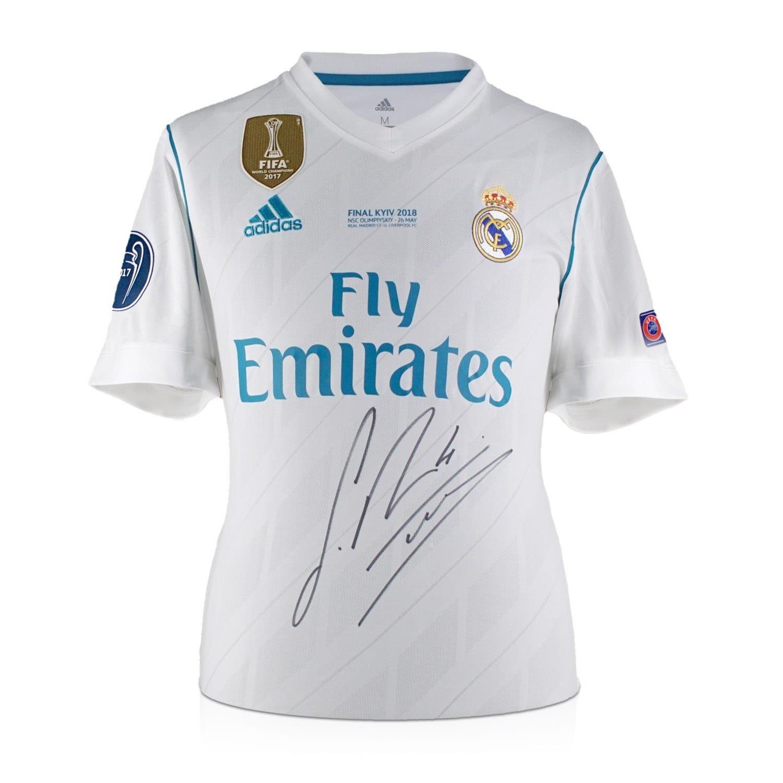 dc8fb1179 Exclusive Memorabilia Sergio Ramos Signed 2017-18 Real Madrid Champions  League Final Shirt  Amazon.co.uk  Sports   Outdoors
