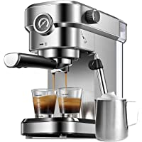Espresso Machine, 15 Bar Espresso and Cappuccino Machine, Stainless Steel Espresso Maker with Milk Frother Wand and…
