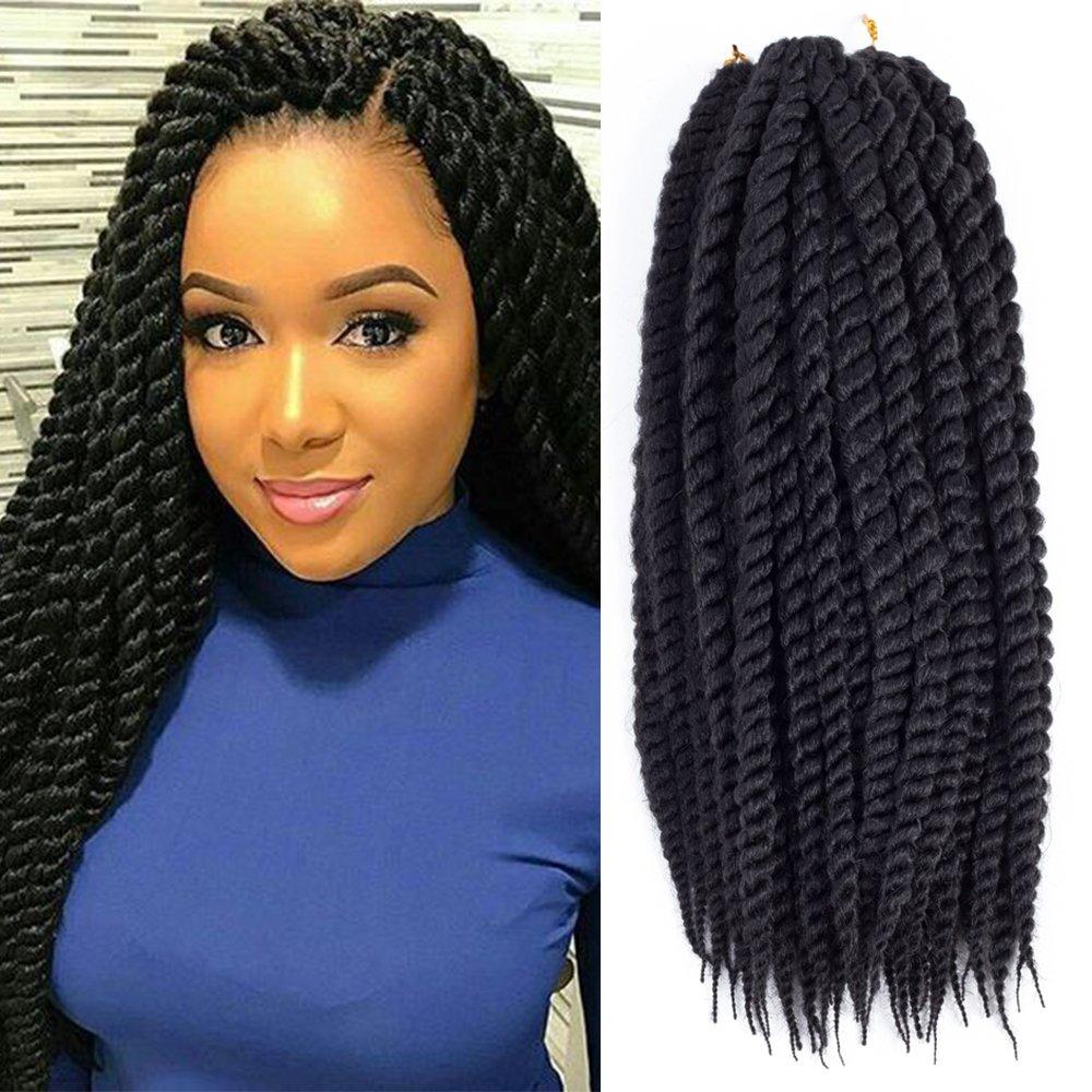 Dingxiu (6 Packs,18 inch) Havana Mambo Twist Crochet Hair Braids Senegalese Twist Crochet Braiding Hair (18'', 1B) by Dingxiu