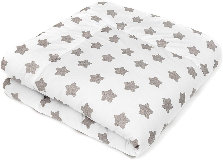 Manta para bebé de gatear y Alfombra de juego para bebés I Blanca Estrellas I para Parque bebe 100x100 / 120x120 - SWADDYL (120x120)