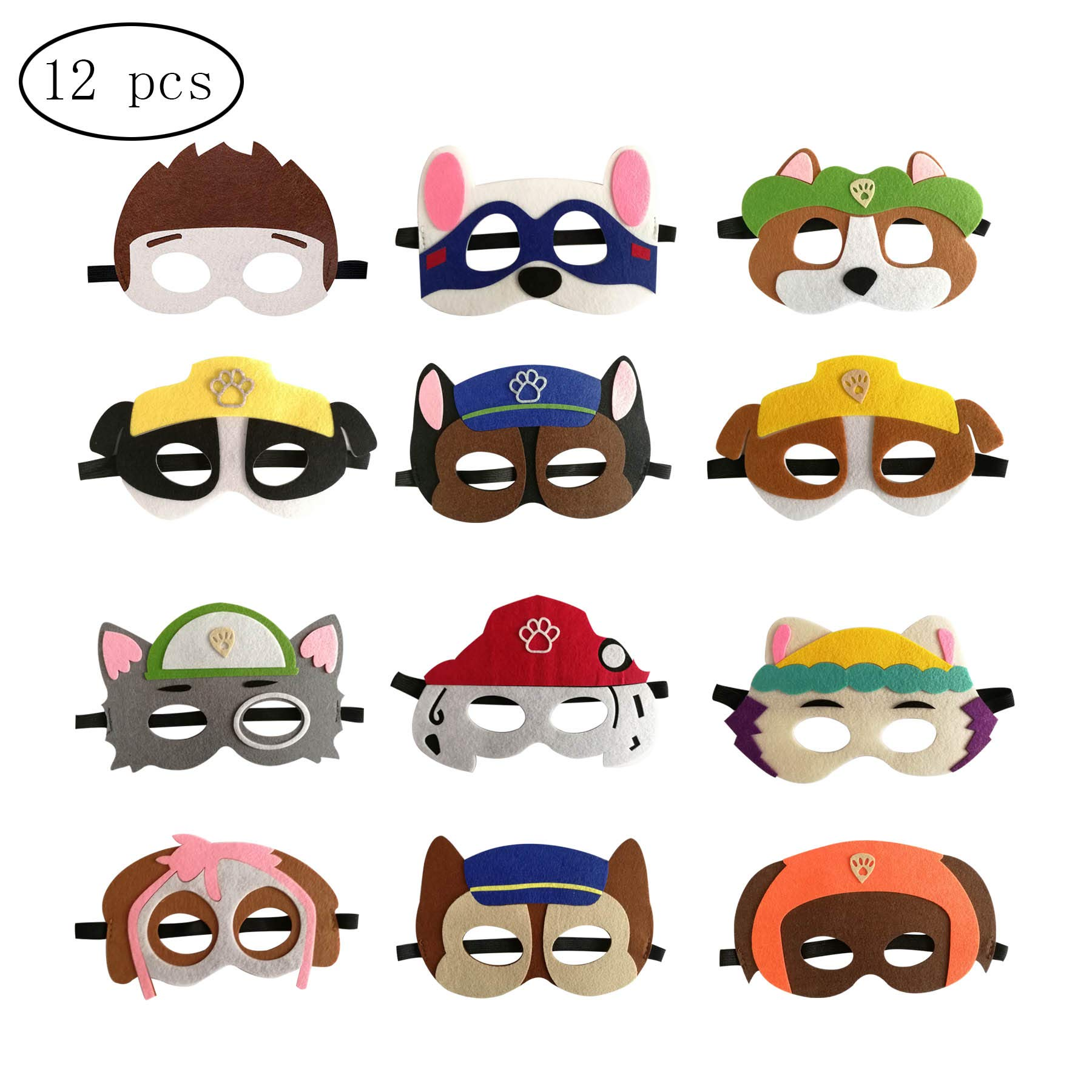 12pcs Dog Patrol Birthday Party Masks for Kids Party Favors Party Supplies