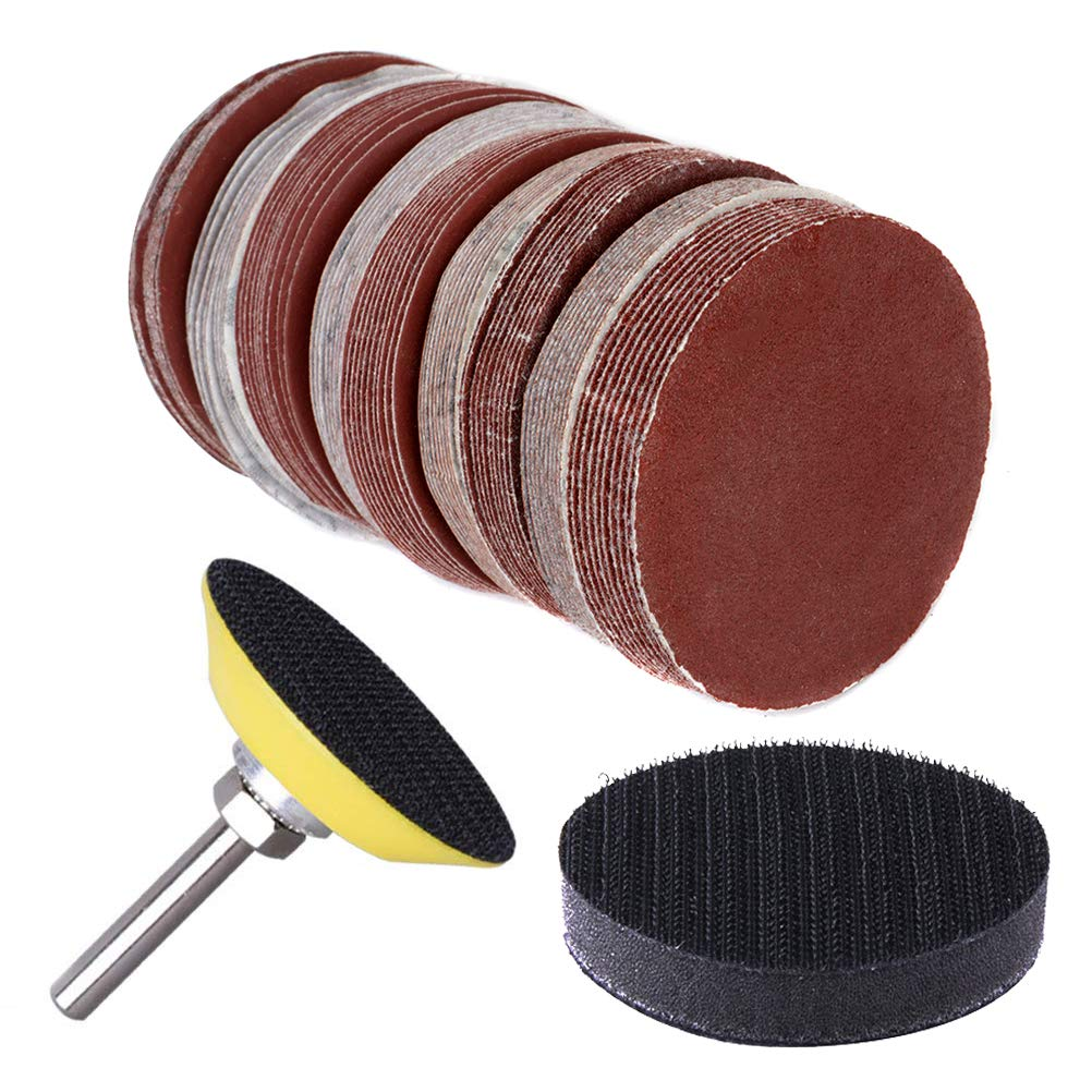 """130pcs 2 Inch Sanding Discs Pad, Uspacific Backer Plate 1/4"""" Shank Sponge Cushions for Drill Grinder Rotary Tools 60-3000 Grit Sandpapers"""