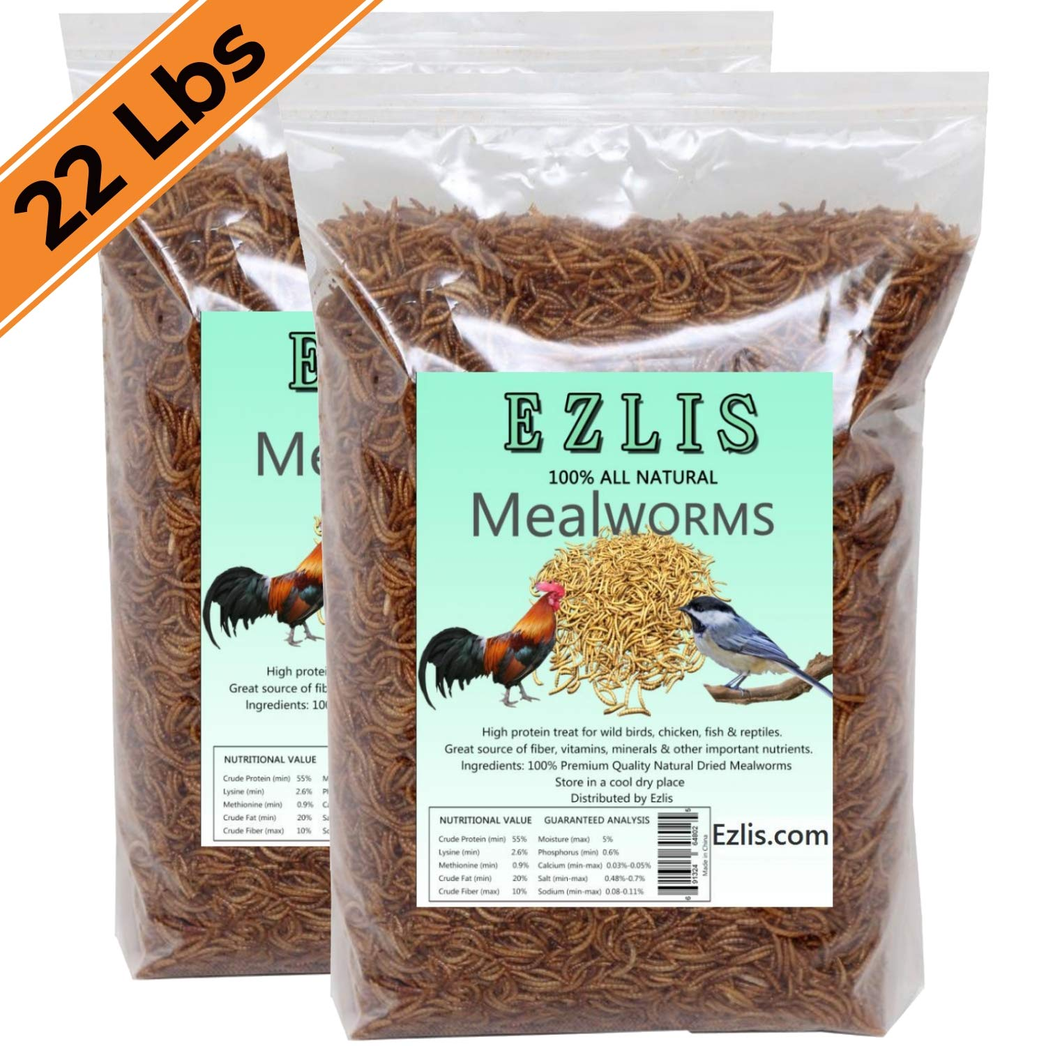 Ezlis Dried Mealworms for Chickens 22lbs - Chicken Treats, Duck Feed, Organic Chicken Feed, High-Protein Meal Worms Bulk Food for Chickens, Bluebird Food, Poultry Feed, Hens, Wild Birds, Fish, Turtle by Ezlis