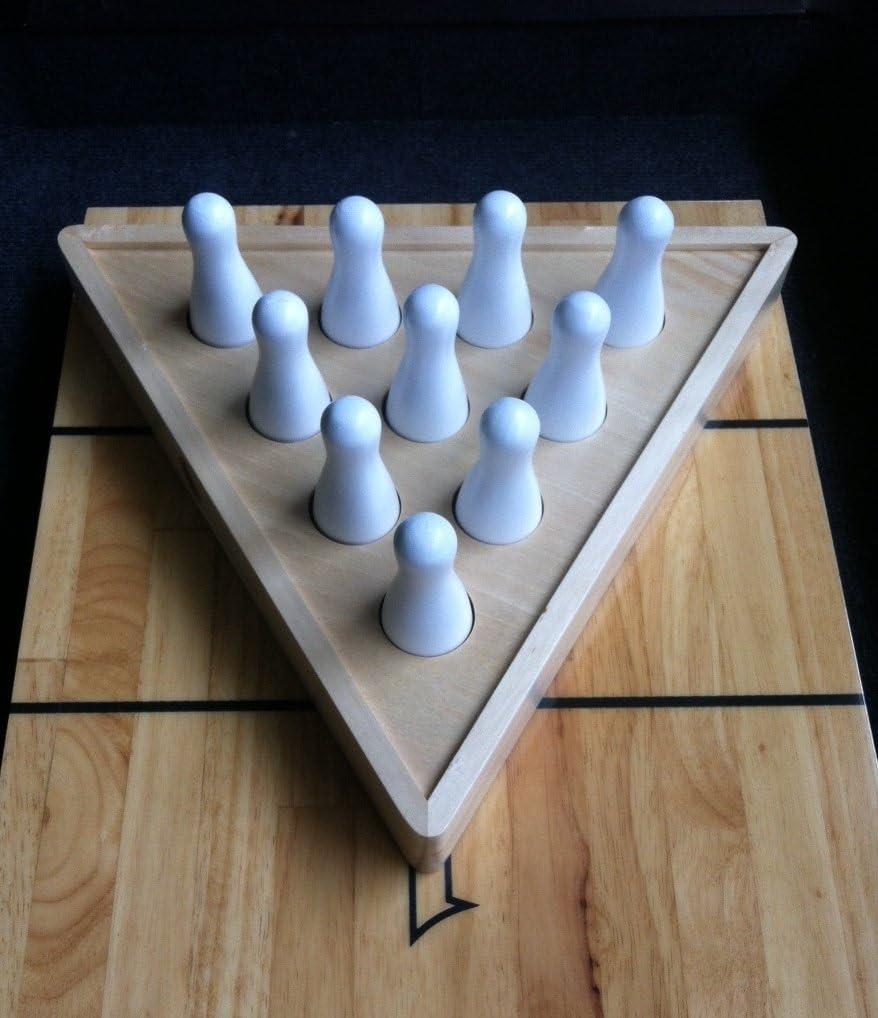 Shuffleboard Bowling Pin Set with 10 PCs Premium Hardwood Bowling Pins Durable Triangular Pinsetter Resin Bowling Ball and Carrying Bag Fun for Shuffleboard Games