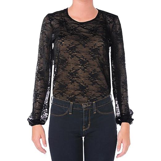 4b207523490e Amazon.com: Aqua Womens Lace Overlay Blouson Bodysuit Black M: Clothing