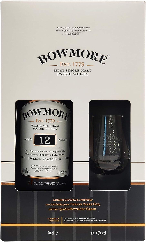 Bowmore 12 Años single Malt Scotch Whisky 40% + Estuche Regalo 1 Vaso - 700 ml: Amazon.es: Alimentación y bebidas