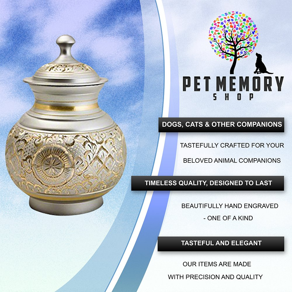 Pet Memory Shop Urn for Pets - Hand Engraved w/FREE VELVET URN BAG - Choose From 2 Styles - for Dogs, Cats, Other Animals … (Silver) by Pet Memory Shop (Image #2)