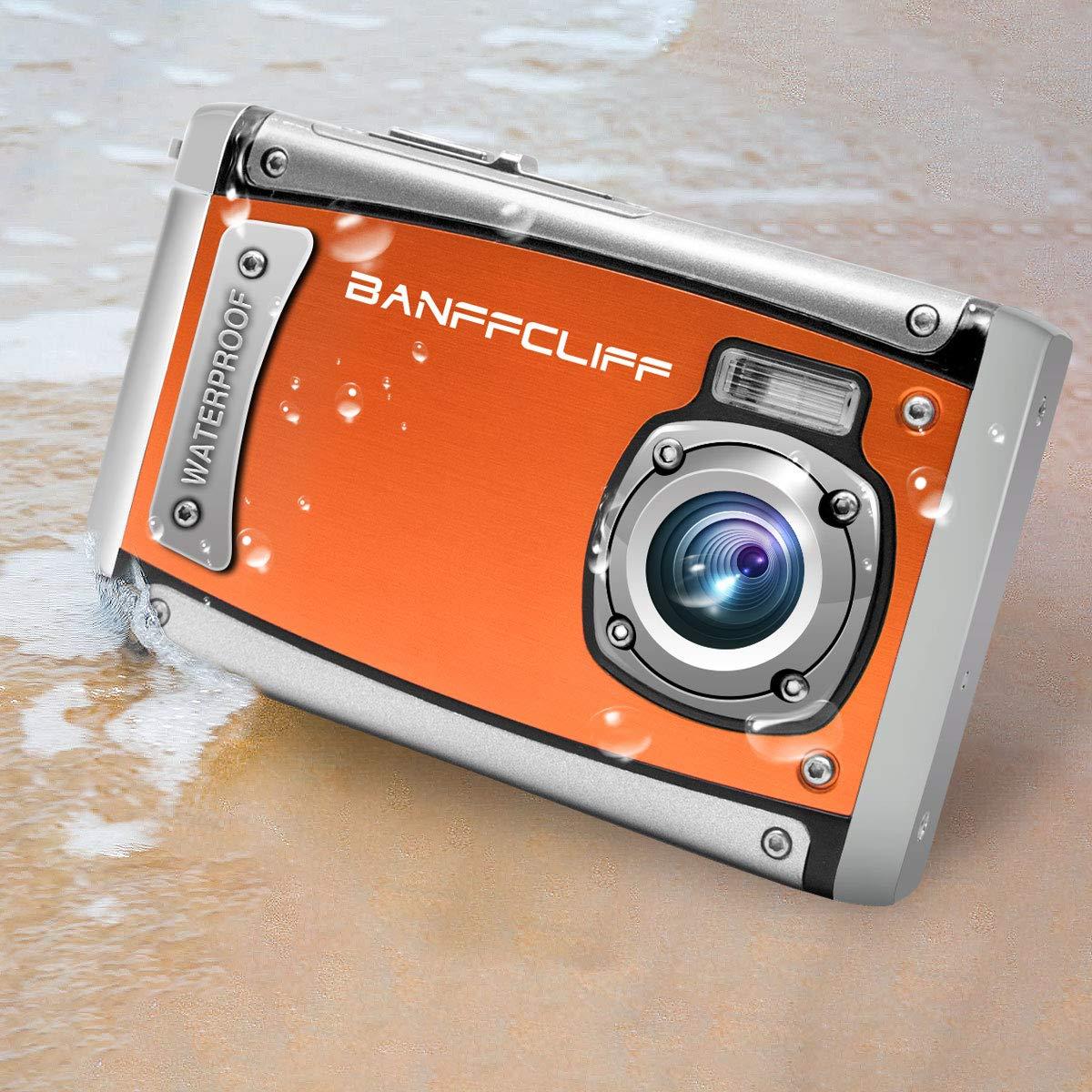 BanffCliff 21MP 1080P HD Waterproof Digital Camera, Anti-Shock 3 Meter Underwater Action Cam, 2.4' LCD Screen Flash Mic IP68 Camcorder 8X Digital Zoom Water Sports Video Recorder X21