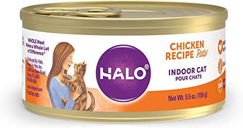 Halo Grain Free Natural Wet Cat Food, Indoor Recipe Pate, 5.5-Ounce Can Pack of 12