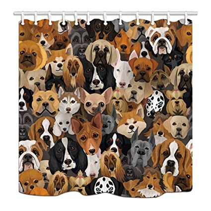 NYMB Dog Bath Curtain Pets Dogs Shepherd Terrier Labrador Domestic Animals Polyester Fabric Waterproof