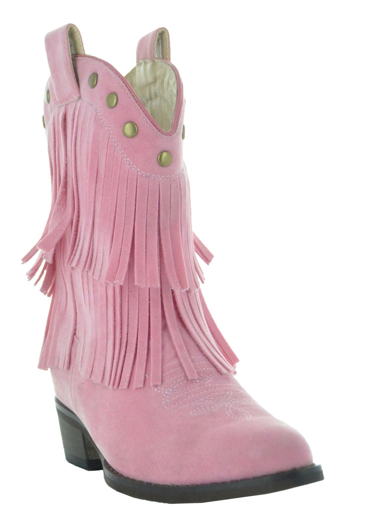 Little Kids Fun Fringe Brown Cowgirl Boots by Country Love Boots (12 Little Kid, Pink)
