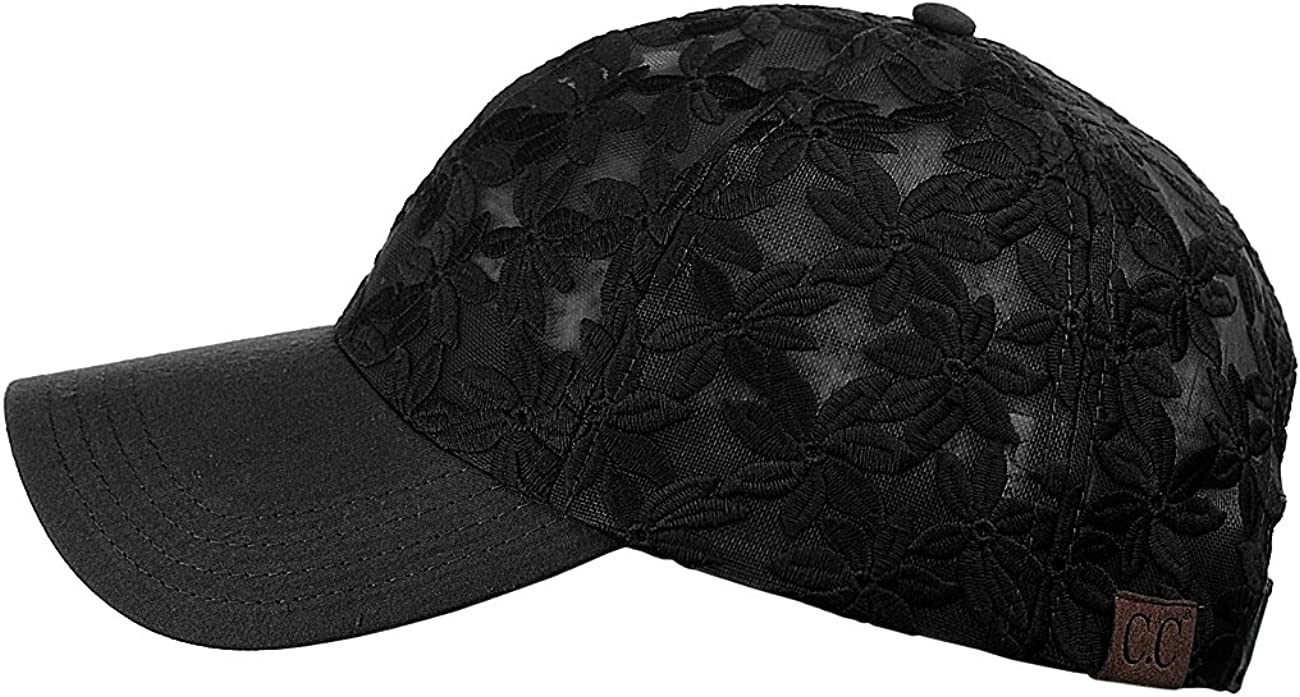 C.C Womens Floral Lace Panel Vented Adjustable Precurved Baseball Cap Hat