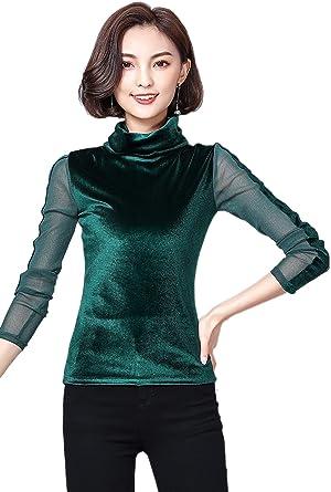 La Mujer Elegante Malla Jersey Cuello Alto Patchwork ...
